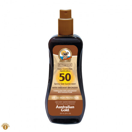 Australian Gold SPF50 spray gel con bronzer 237 ml