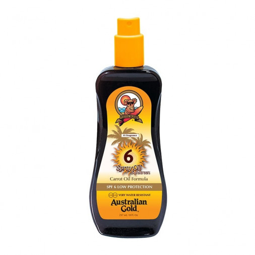 Australian Gold SPF6 Spray Oil Sunscreen con carrot 237 ml