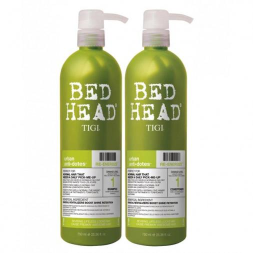Tigi Bed Head Kit maxi urban antidotes re-energize shampoo + balsamo 750 ml
