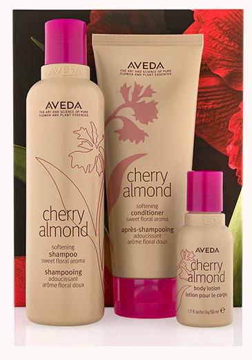 Aveda cherry almond hair and body softening trio