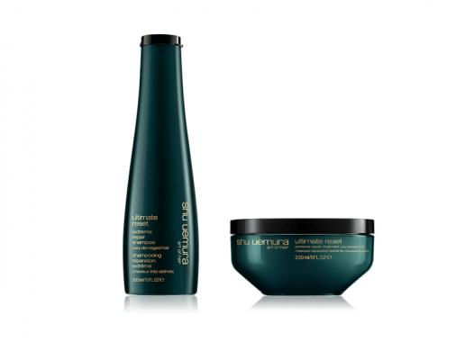 Shu uemura kit Ultimate reset shampoo maschera capelli sfibrati grossi