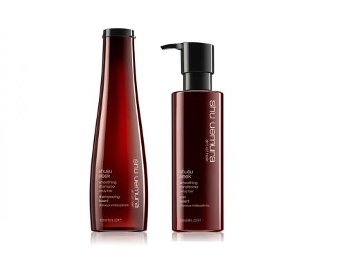 shu uemura shusu sleek kit shampoo e conditioner capelli crespi