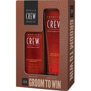 American Crew Kit Groom To Win Daily Moisturizing Shampoo + Firm Hold Gel