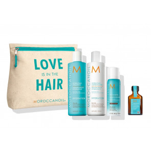 Moroccanoil summer kit Love is in the Hair Hydrating + travel size shampoo secco dark tones