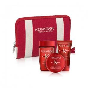Kerastase soleil travel mini size bain + masque apres soleil + creme uv sublime + pochette