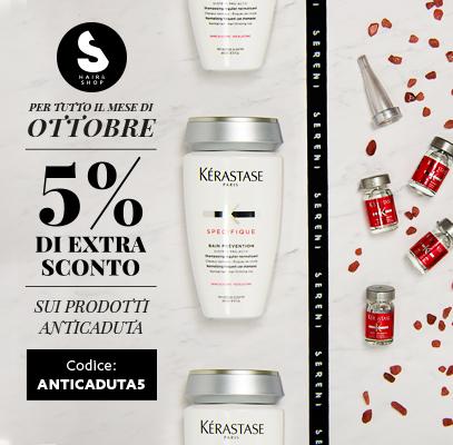 5% di sconto sui prodotti anticaduta per tutto Ottobre