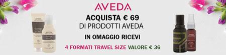 Acquista 69€ di prodotti AVEDA in omaggio 4 travel size