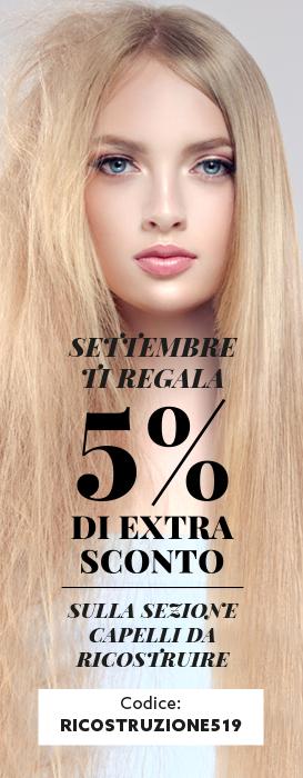 extra sconto 5% sui prodotti per la ricostruzione dei capelli