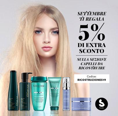 5% di extra sconto sui prodotti per la ricostruzione dei capelli